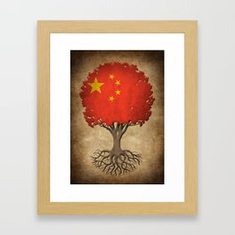 Vintage Tree of Life with Flag of China Framed Art Print