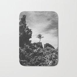 Coconut tree on the rocks, Tambaba beach, Conde PB Brazil Bath Mat