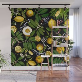 LEMON TREE Black Wall Mural