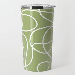 Doodle Line Art | White Lines on Spring Green Travel Mug