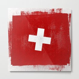 Swiss Distressed Halftone Denim Flag Metal Print