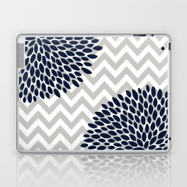 Chevron Floral Modern Navy and Grey Laptop & iPad Skin