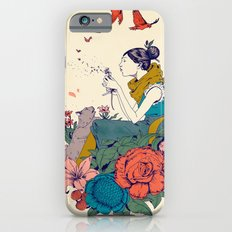 woman and flowers Slim Case iPhone 6