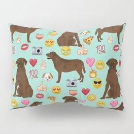 Chocolate lab emoji labrador retrievers dog breed Pillow Sham