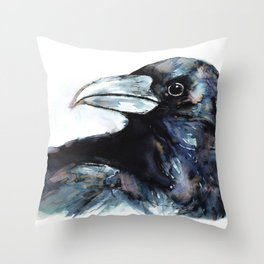 Raven, Watercolor Throw Pillow