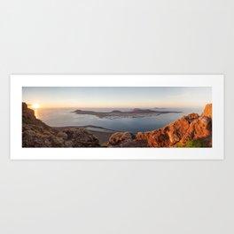 La Graciosa at sunset, Lanzarote. Canary islands. Art Print