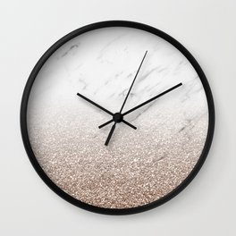 Glitter ombre - white marble & rose gold glitter Wall Clock