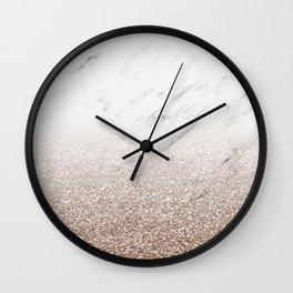 Glitter ombre - white marble & rose gold glitter Wall Clock