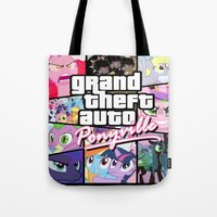 grand theft auto Tote Bags featuring My little grand theft by eatpersonality