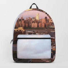 Manhattan City Skyline from Queens at Sunrise Backpack