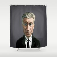 lynch Shower Curtains featuring Celebrity Sunday ~ David Lynch by rob art | illustration