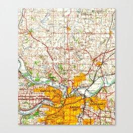 Kansas City vintage old map 1960, offic decoration Canvas Print