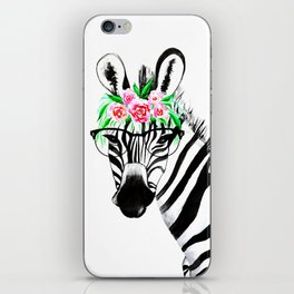 Zebra with glasses and flowers iPhone Skin