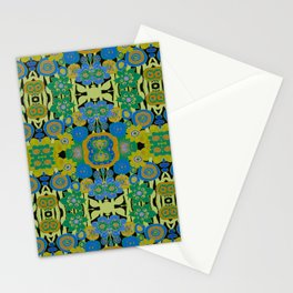 Boho Hippie Garden -  Aqua Gold Avocado  Stationery Cards