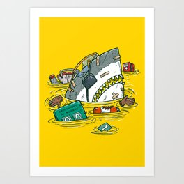 Safety Third Shark Art Print