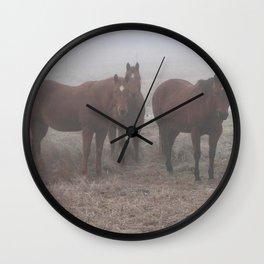 Horses in Fog Wall Clock