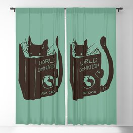 World Domination for Cats (Green) Blackout Curtain