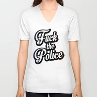 2pac V-neck T-shirts featuring F*ck the police by Street Vandals