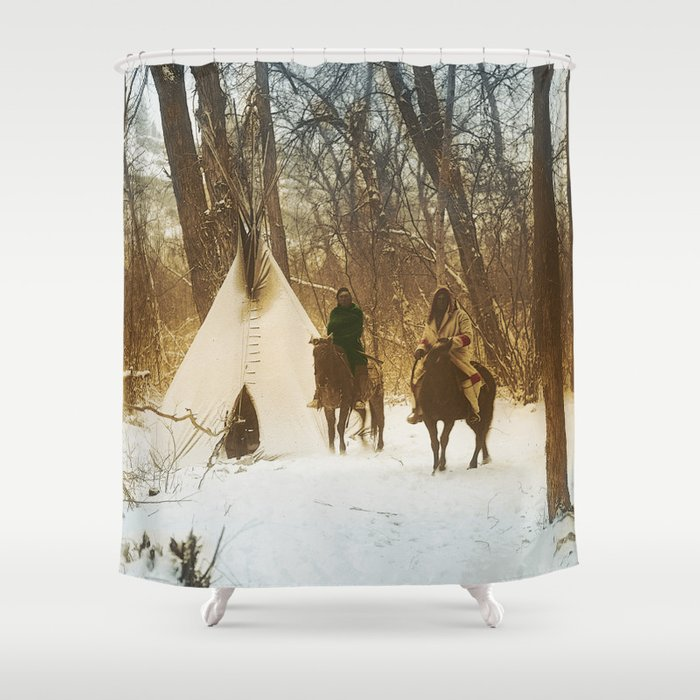 The winter camp - Crow (Apsaroke) Indians Shower Curtain