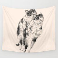 cats Wall Tapestries featuring Cats by Anna Shell
