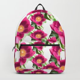 Pink Tulip Pattern, Bright Large Fuchsia Flowers With Yellow Center and Green Leaves Backpack