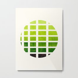 Watercolor Sap Green Minimalist Mid Century Modern Square Matrix Geometric Pattern Round CircleFrame Metal Print