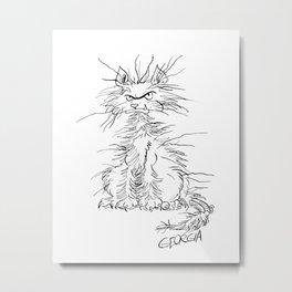 Disgruntled Cat Metal Print