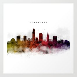 Cleveland Watercolor Skyline Art Print