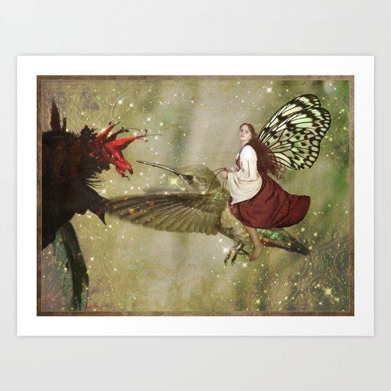 Hummingbird Rider Art Print