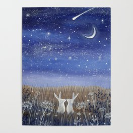 Hares and the Crescent Moon Poster