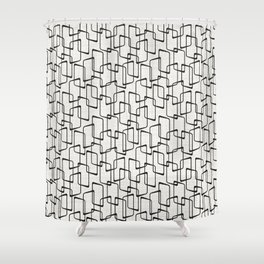 Black Retro Rounded Rectangles Geometric Pattern Shower Curtain