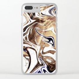Metallic Gold Purple White Marble Swirl Clear iPhone Case