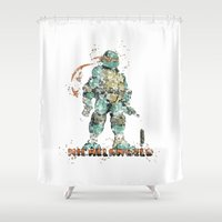 teenage mutant ninja turtles Shower Curtains featuring Michelangelo Teenage Mutant Ninja Turtles by Carma Zoe