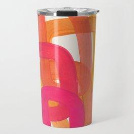Funky Retro 70' Style Pattern Orange Pink Greindent Striped Circles Mid Century Colorful Pop Art Travel Mug