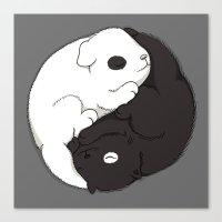 yin yang Canvas Prints featuring Yin & Yang by Lili Batista