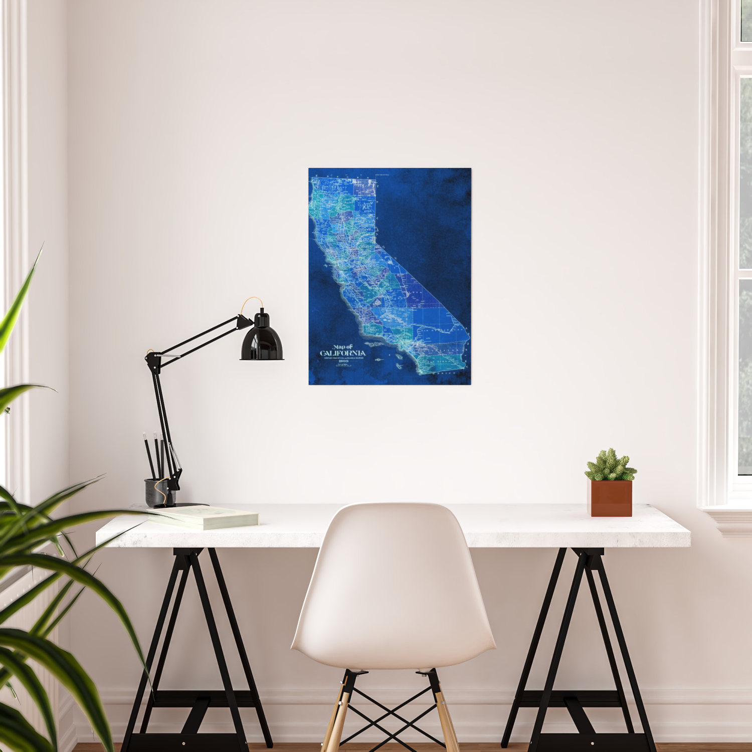 California Blue Old Vintage Map Original Art For Office Decor Poster By Routes