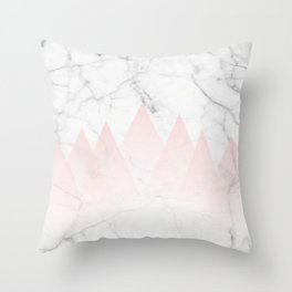 White Marble Background Pink Abstract Triangle Mountains Throw Pillow
