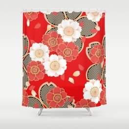 Japanese Vintage Red Black White Floral Kimono Pattern Shower Curtain