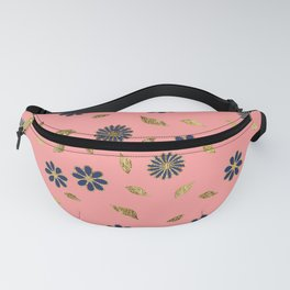 Pretty Gold Navy Blue Pink Flowers and Leaves Pattern Fanny Pack