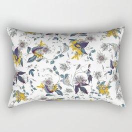 White Garden. Floral Pattern. Yellow Flowers. Rectangular Pillow