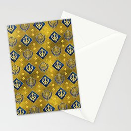 Gold and Lapis Lazuli Khanda symbol pattern Stationery Cards