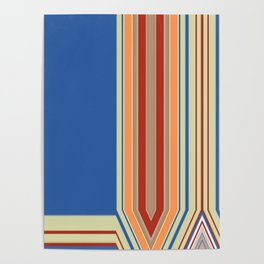 Bold blue Abstract Line Poster