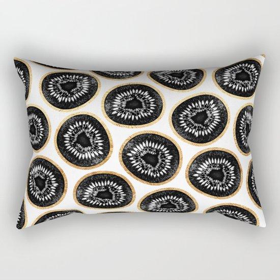 Black & Gold Kiwi Pattern Rectangular Pillow