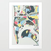 san diego Art Prints featuring San Diego by Studio Tesouro