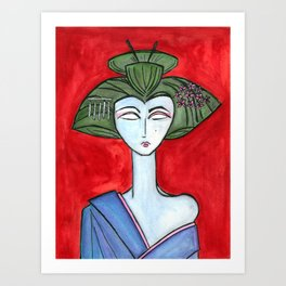 American Maiko with Red Background Art Print