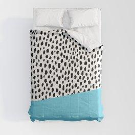 Dalmatian Spots with Blue Stripe Comforters