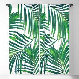 Palm Paradise, Tropical Leaves, Beachy Watercolor Painting, Minimal Nature Botanical Illustration Blackout Curtain