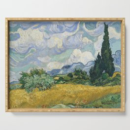 Wheat Field with Cypresses by Vincent van Gogh Serving Tray