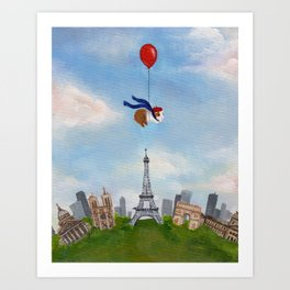 Guinea Pig With Balloon Over Paris, France Art Print
