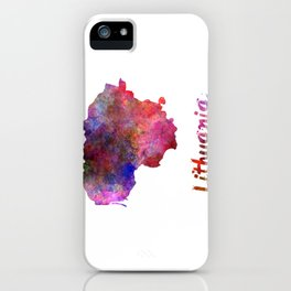 Lithuania in watercolor iPhone Case
